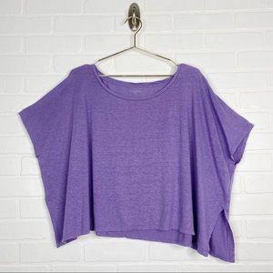 Eileen Fisher Linen Crop Top Purple Small Oversize